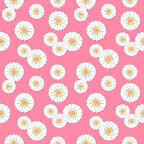 Scattered Daisies on Pink