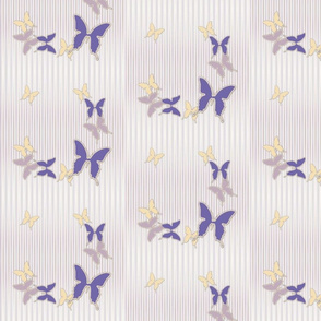 Lavender Purple Cream Butterflies on Pinstripes