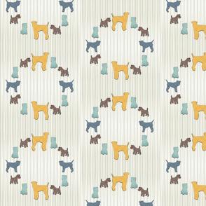 Plaid Terriers on Neutral Beige Stripes