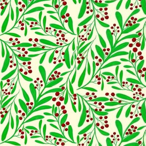 A Scatter of Festive Berry Sprigs on Magnolia Cream - Large Scale