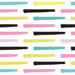 Memphis Stripes Geometric Abstract Seamless Vector Pattern, Hand Drawn