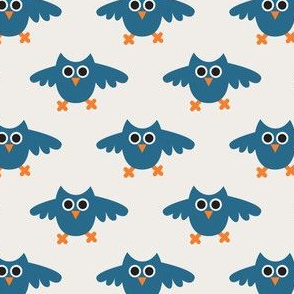 Flying owls in petrol blue