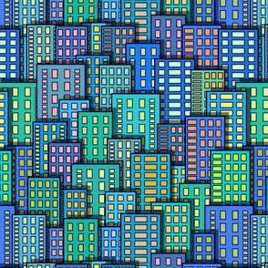 Cartoon City View Blues Greens