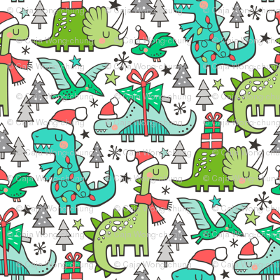 Christmas Holidays Dinosaurs & Trees