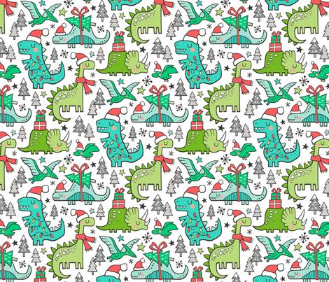 Christmas Holidays Dinosaurs & Trees fabric by caja_design on Spoonflower - custom fabric