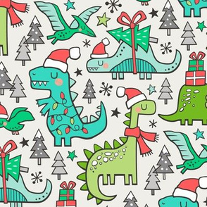 Christmas Holidays Dinosaurs & Trees on Cloud Grey