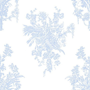 """12""""Blue and White Rococo Floral Damask fabric, Flowers Damask fabric,rococo fabric"""