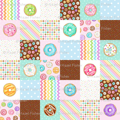Rainbow Donuts cheater quilt 6 inch squares Rotated