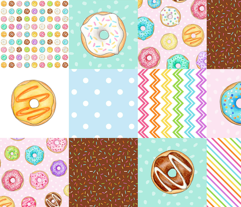 Rainbow Donuts cheater quilt 6 inch squares Rotated fabric by hazelfishercreations on Spoonflower - custom fabric