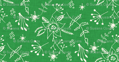 Winter Floral Green