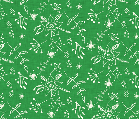Winter Floral Green fabric by bruxamagica on Spoonflower - custom fabric
