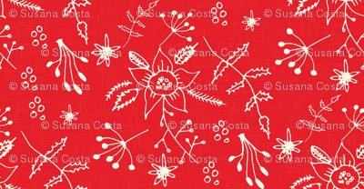 Winter Floral Red