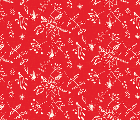 Winter Floral Red fabric by bruxamagica on Spoonflower - custom fabric