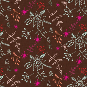 Winter Floral Brown