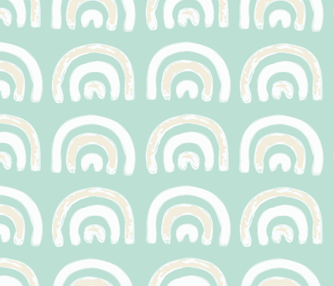 (Jumbo Scale) Turquoise Rainbow fabric by looshdesign on Spoonflower - custom fabric