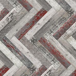 Vintage Wood Chevron Tiles Herringbone Burgundy horizontal