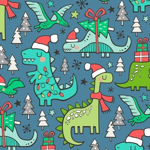 Christmas Holidays Dinosaurs & Trees on Dark Blue Navy