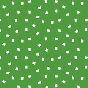 White Squares on Green, All Over Ditsy Pattern