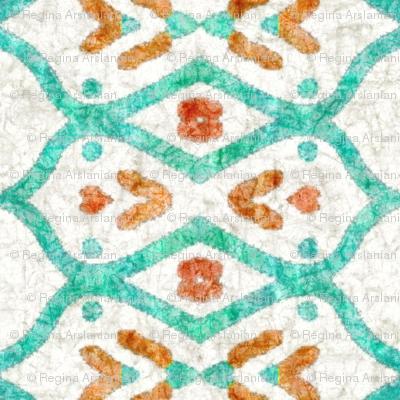 Southwest batik, teal, medium