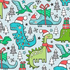 Christmas Holidays Dinosaurs & Trees on Light Blue