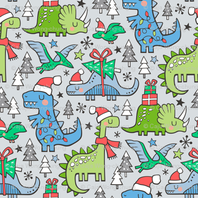 Christmas Holidays Dinosaurs & Trees Blue on Light Blue Grey