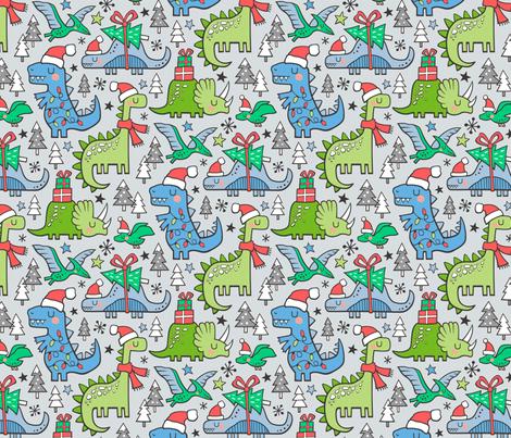 Christmas Holidays Dinosaurs & Trees Blue on Light Blue Grey fabric by caja_design on Spoonflower - custom fabric