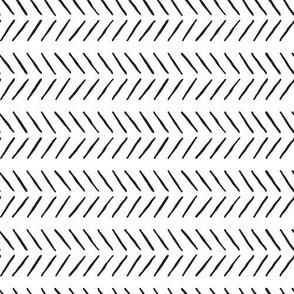 inky black and white horizontal herringbone