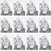 stippled cowgirl portraits