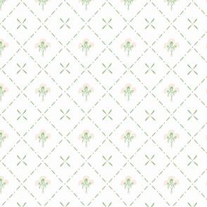 wildflower bouquets in green diamonds