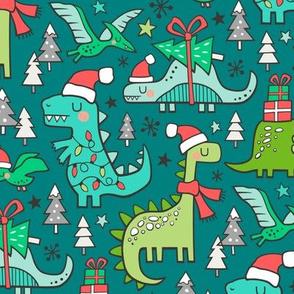 Christmas Holidays Dinosaurs & Trees on Teal