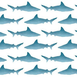 Blue Watercolor Gradient Sharks