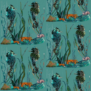 9x9 Teal Seahorses Large repeat
