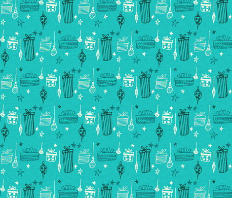 Christmas Gift Teal fabric by bruxamagica on Spoonflower - custom fabric