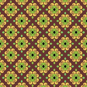 French Fantasy Yellow -green on brown