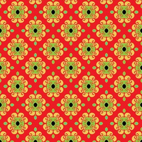 French Fantasy Yellow -green on red