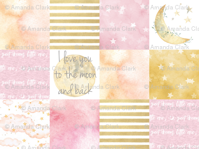 I love you to the Moon and Back Wholecloth- Pink and Gold