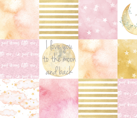 I love you to the Moon and Back Wholecloth- Pink and Gold fabric by sugarpinedesign on Spoonflower - custom fabric