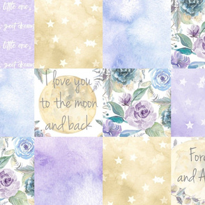 Love you to the Moon and Back Wholecloth - Purple Floral