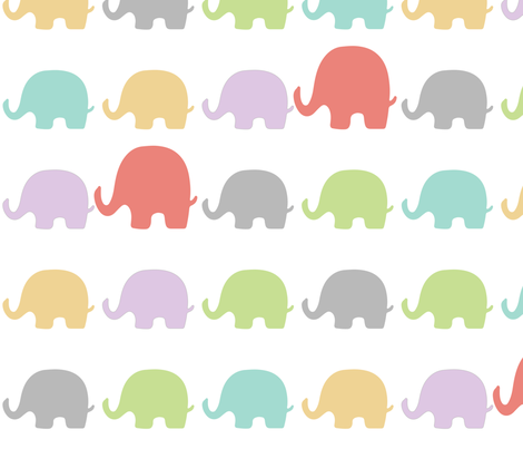 Elephants-Pastels fabric by lulularch on Spoonflower - custom fabric