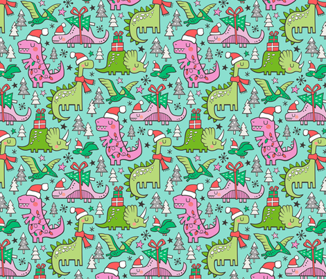 Christmas Holidays Dinosaurs & Trees Pink on Mint Green fabric by caja_design on Spoonflower - custom fabric