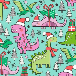 Christmas Holidays Dinosaurs & Trees Pink on Mint Green
