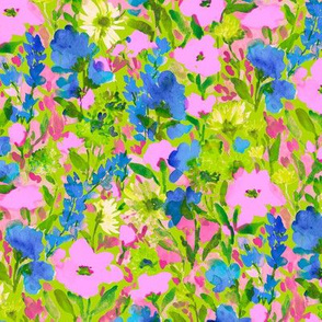 Wild Garden Pink and Blue on Lime