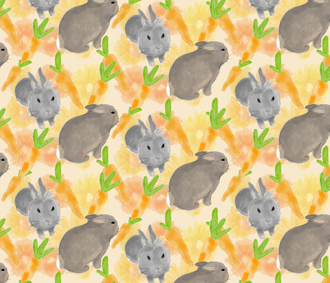 bunnies pattern fabric by jordi_lister on Spoonflower - custom fabric