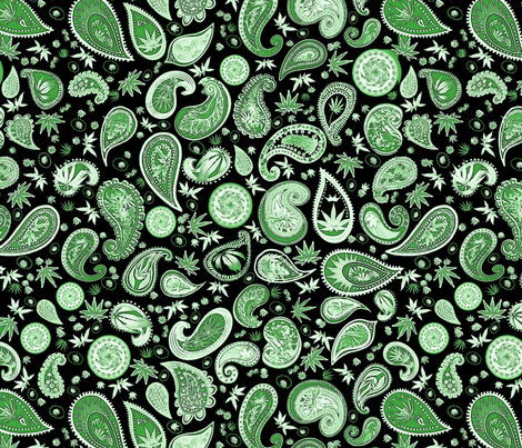 420 Hiphop Paisley Green Black fabric by camomoto on Spoonflower - custom fabric
