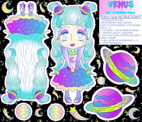"""""""Venus"""" DIY Kawaii Fashion Doll Cut + Sew Project fabric by elliottdesignfactory on Spoonflower - custom fabric"""