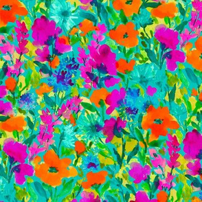 Wild Garden Orange and Magenta on Teal