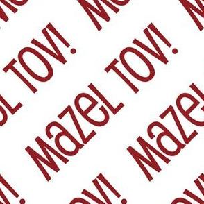 Mazel Tov! on Diagonal Dark Red on White-01