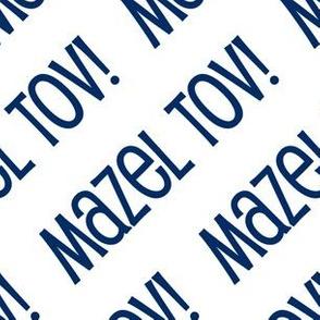 Mazel Tov! on Diagonal Dark Blue on White-01