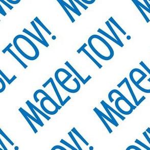 Mazel Tov! on Diagonal Blue on White-01