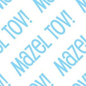 Mazel Tov! on Diagonal Light Blue on White-01-01